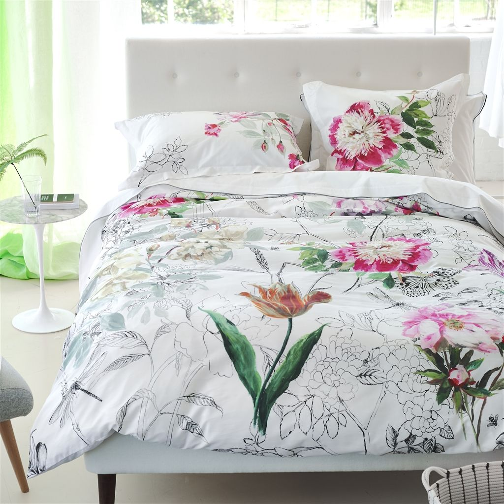 parure de lit sibylla fuchsia tissus s verine. Black Bedroom Furniture Sets. Home Design Ideas